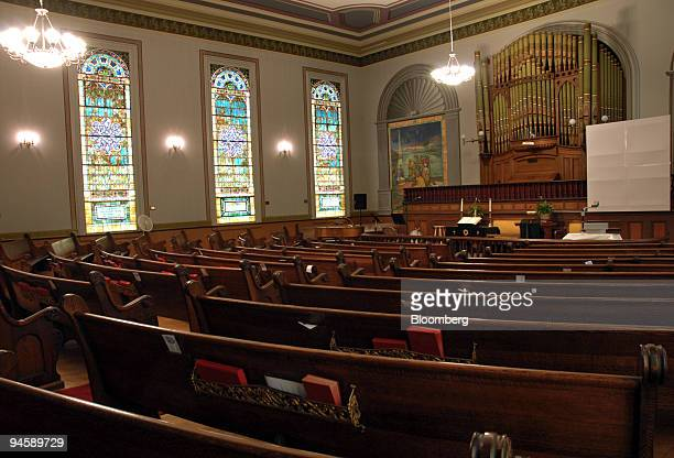 Pews line the inside of the Sag Harbor Methodist Church on Madison Street in Sag Harbor Long Island New York US on Tuesday Sept 11 2007 Dennis...