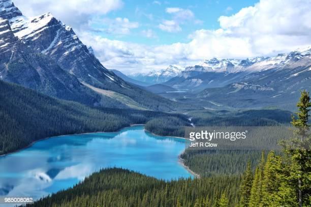 peyto lake in alberta canada - montañas rocosas canadienses fotografías e imágenes de stock