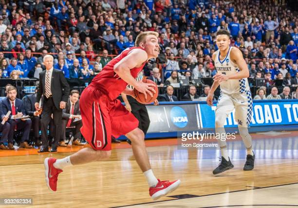 Peyton Aldridge of the Davidson Wildcats sets his shot during the NCAA Division I Men's Championship First Round game between the Kentucky Wildcats...