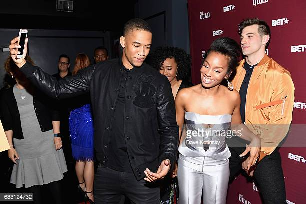 Peyton Alex Smith Anika Noni Rose and Jake Allyn attend the premiere screening of 'The Quad' by BET at The One Manhattan on January 30 2017 in New...