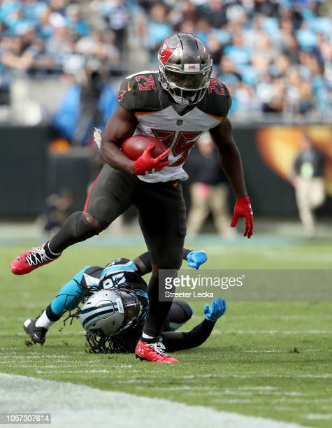 Peyton Barber of the Tampa Bay Buccaneers runs the ball against Donte Jackson of the Carolina Panthers in the second quarter during their game at...