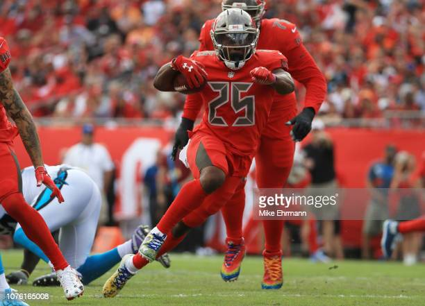 Peyton Barber of the Tampa Bay Buccaneers runs the ball during the first quarter against the Carolina Panthers at Raymond James Stadium on December...