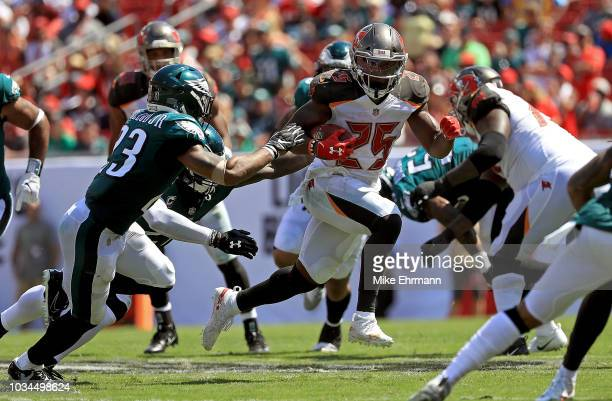 Peyton Barber of the Tampa Bay Buccaneers rushes during a game against the Philadelphia Eagles at Raymond James Stadium on September 16 2018 in Tampa...
