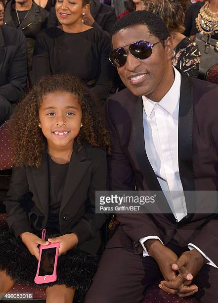 Peyton Edmonds and honoree Kenneth Babyface Edmonds attend the 2015 Soul Train Music Awards at the Orleans Arena on November 6 2015 in Las Vegas...