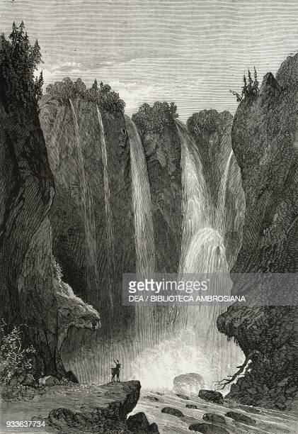 Peyton Falls Allegheny Mountains Virginia United States of America illustration from the magazine The Illustrated London News volume XLV December 10...