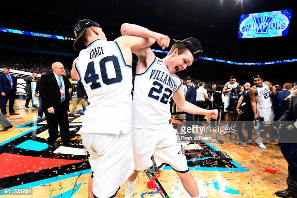 Peyton Heck and Denny Grace of the Villanova Wildcats celebrate after the 2018 NCAA Photos via Getty Images Men's Final Four National Championship...
