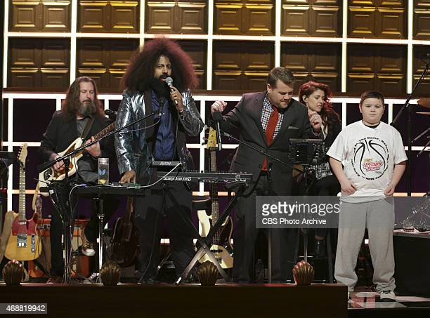 Peyton Henderson dances with James Corden Reggie Watts and the band Tim Young Guillermo Brown Hagar Ben Ari and Steve Scalfati on The Late Late Show...