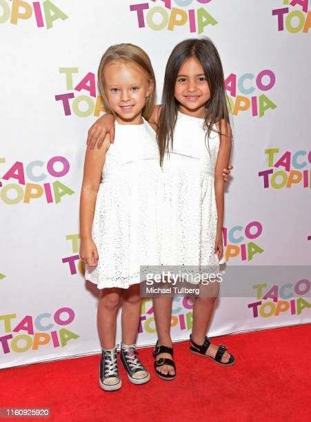 Peyton Johnson and Ava Foley attend the #TacoBoutViral event for influencers at Tacotopia on July 08 2019 in Santa Monica California