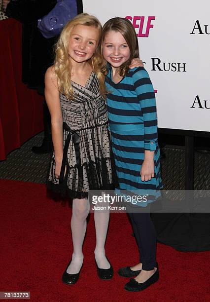 Peyton List and Sammi Hanratty arrive at the premiere of 'August Rush' at the Ziegfeld Theater on November 11 2007 in New York City