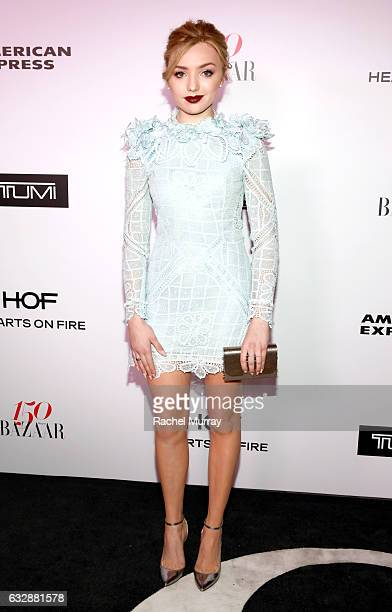 Peyton List attends Harper's BAZAAR celebration of the 150 Most Fashionable Women presented by TUMI in partnership with American Express La Perla and...
