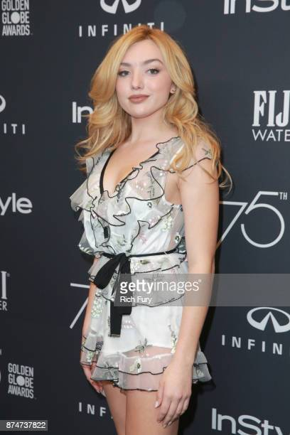 Peyton List attends the Hollywood Foreign Press Association and InStyle celebrate the 75th Anniversary of The Golden Globe Awards at Catch LA on...