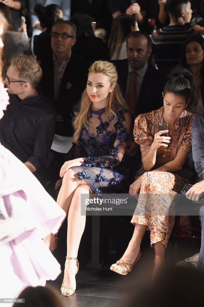Peyton List attends the Marchesa fashion show during New York Fashion Week: The Shows at Gallery 1, Skylight Clarkson Sq on September 13, 2017 in New York City.