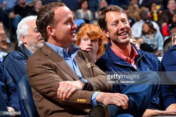 Peyton Maning is seen at the game between the Milwaukee Bucks and the Memphis Grizzlies on January 16 2019 at the FedExForum in Memphis Tennessee...