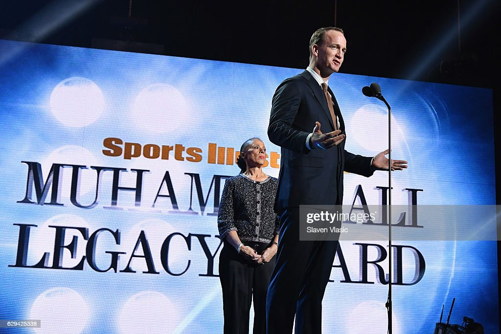 Peyton Manning (R) and Lonnie Ali speak onstage during the Sports Illustrated Sportsperson of the Year Ceremony 2016 at Barclays Center of Brooklyn on December 12, 2016 in New York City.
