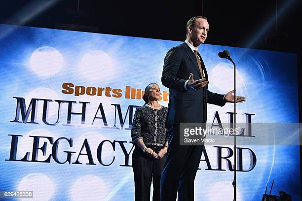 Peyton Manning and Lonnie Ali speak onstage during the Sports Illustrated Sportsperson of the Year Ceremony 2016 at Barclays Center of Brooklyn on...