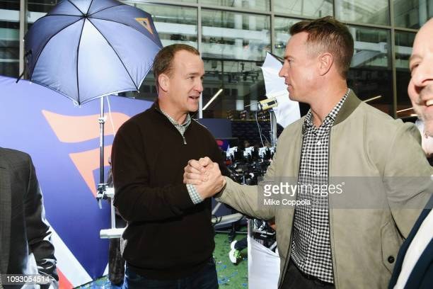 Peyton Manning and Matt Ryan attend Fanatics Super Bowl Party at College Football Hall of Fame on January 5 2019 in Atlanta Georgia