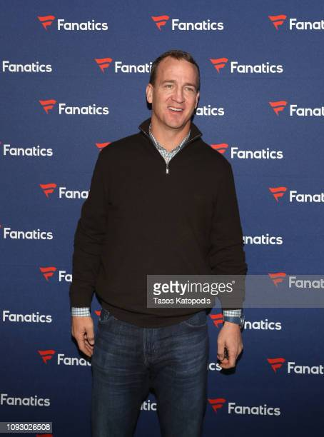 Peyton Manning arrives at the Fanatics Super Bowl Party at College Football Hall of Fame on January 5 2019 in Atlanta Georgia