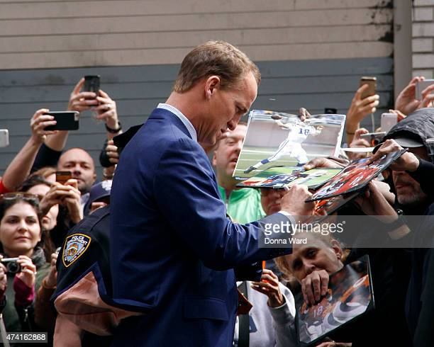 """Peyton Manning arrives for the final episode of """"The Late Show with David Letterman"""" at the Ed Sullivan Theater on May 20, 2015 in New York City."""