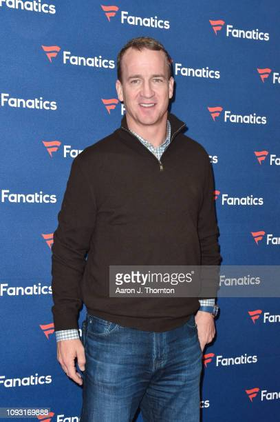 Peyton Manning arrives to Michael Rubin's Fanatics Super Bowl Party at the College Football Hall of Fame on February 2 2019 in Atlanta Georgia