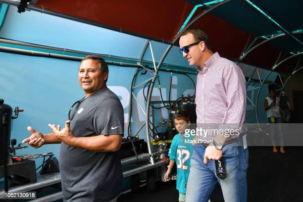 Peyton Manning attends the game between the Miami Dolphins and Chicgo Bears at Hard Rock Stadium on October 14 2018 in Miami Florida