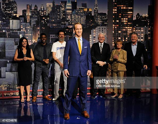 Peyton Manning helps present the Top Ten List on the final broadcast of the Late Show with David Letterman, Wednesday May 20, 2015 on the CBS...