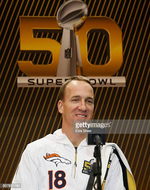 Peyton Manning of the Denver Broncos addresses the media at Super Bowl Opening Night Fueled by Gatorade at SAP Center on February 1, 2016 in San...