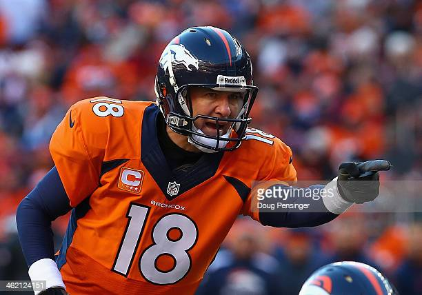 Peyton Manning of the Denver Broncos calls a play during the AFC Divisional Playoff Game against the San Diego Chargers at Sports Authority Field at...