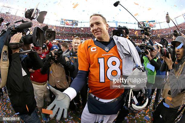 Peyton Manning of the Denver Broncos celebrates after defeating the New England Patriots in the AFC Championship game at Sports Authority Field at...