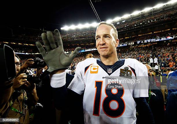 Peyton Manning of the Denver Broncos celebrates after defeating the Carolina Panthers during Super Bowl 50 at Levi's Stadium on February 7, 2016 in...