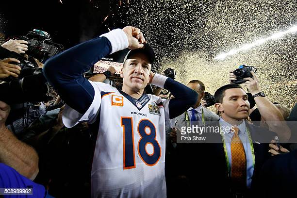 Peyton Manning of the Denver Broncos celebrates after defeating the Carolina Panthers during Super Bowl 50 at Levi's Stadium on February 7 2016 in...
