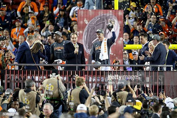 Peyton Manning of the Denver Broncos celebrates with the Vince Lombardi Trophy after winning Super Bowl 50 at Levi's Stadium on February 7 2016 in...