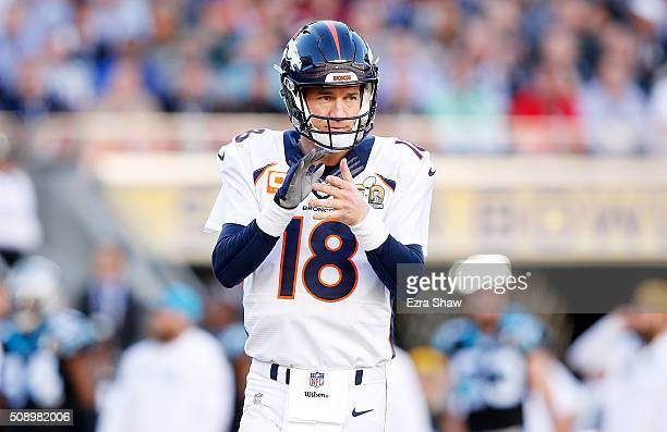 Peyton Manning of the Denver Broncos gestures in the first quarter against the Carolina Panthers during Super Bowl 50 at Levi's Stadium on February 7...