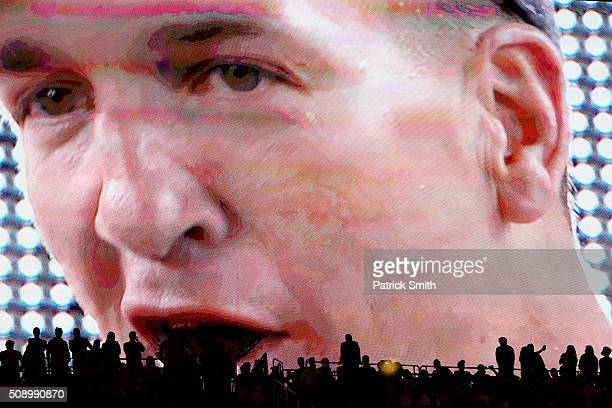 Peyton Manning of the Denver Broncos is seen on the video screen after Super Bowl 50 at Levi's Stadium on February 7 2016 in Santa Clara California...