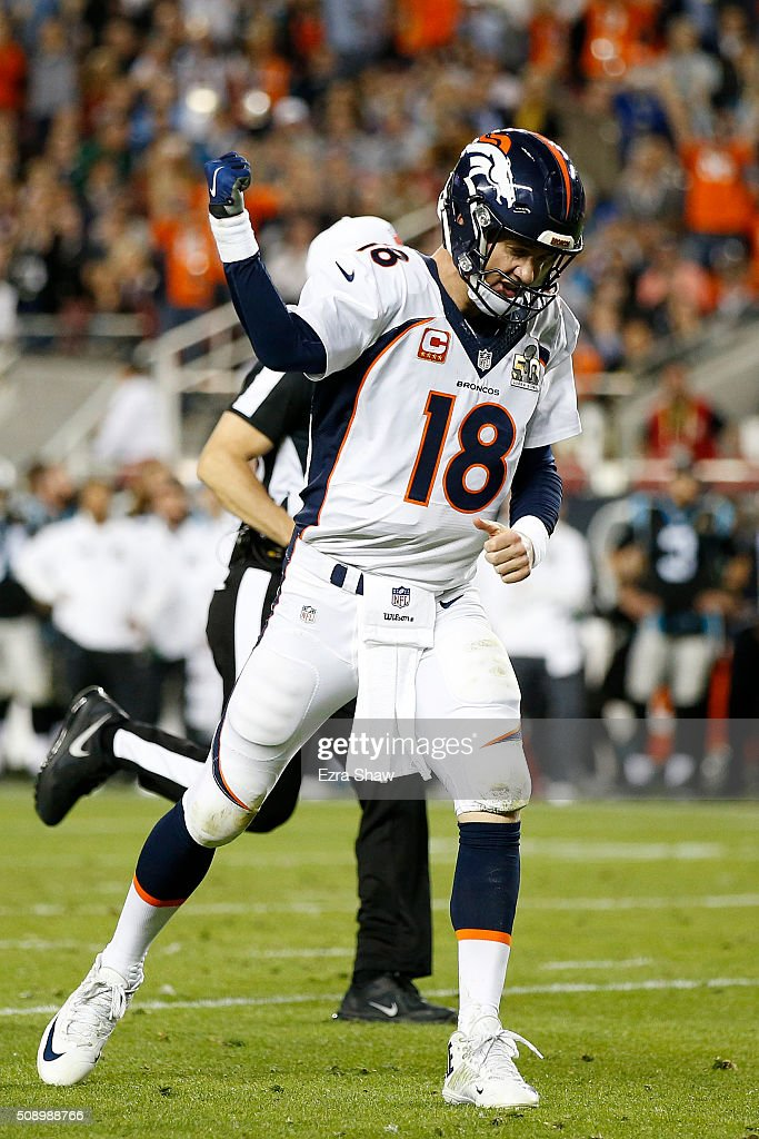 Peyton Manning #18 of the Denver Broncos reacts after a touchdown against the Carolina Panthers during Super Bowl 50 at Levi's Stadium on February 7, 2016 in Santa Clara, California.
