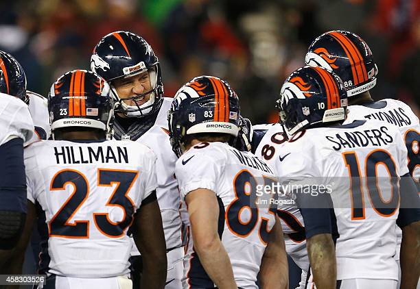 Peyton Manning of the Denver Broncos reacts during the third quarter against the New England Patriots at Gillette Stadium on November 2 2014 in...