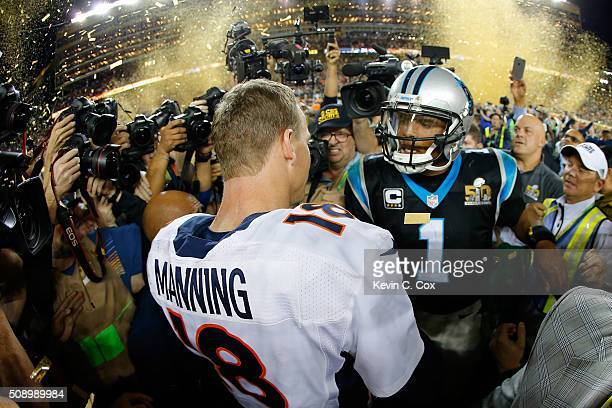 Peyton Manning of the Denver Broncos shakes hands with Cam Newton of the Carolina Panthers after Super Bowl 50 at Levi's Stadium on February 7, 2016...
