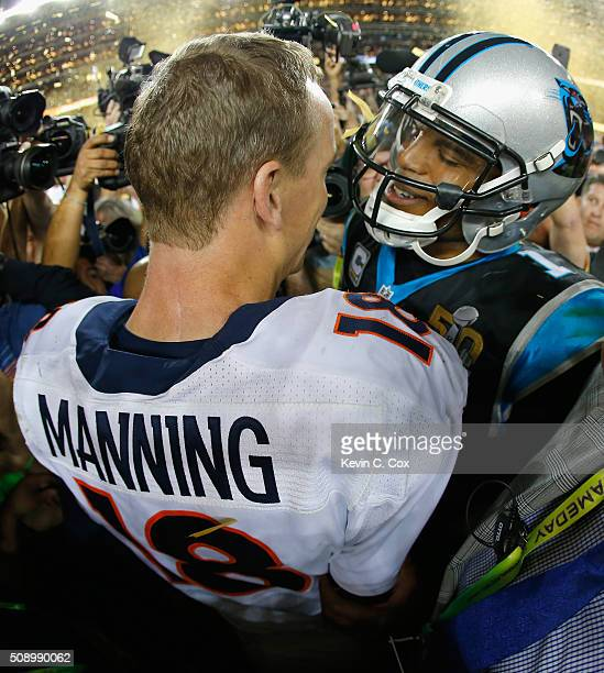 Peyton Manning of the Denver Broncos shakes hands with Cam Newton of the Carolina Panthers after Super Bowl 50 at Levi's Stadium on February 7 2016...