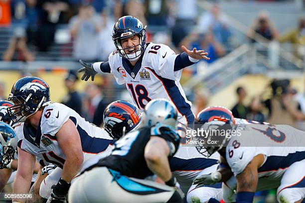 Peyton Manning of the Denver Broncos signals to his teammates during Super Bowl 50 against the Carolina Panthers at Levi's Stadium on February 7 2016...