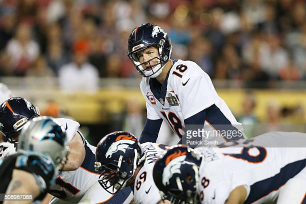 Peyton Manning of the Denver Broncos stands on the field in the third quarter against the Carolina Panthers during Super Bowl 50 at Levi's Stadium on...