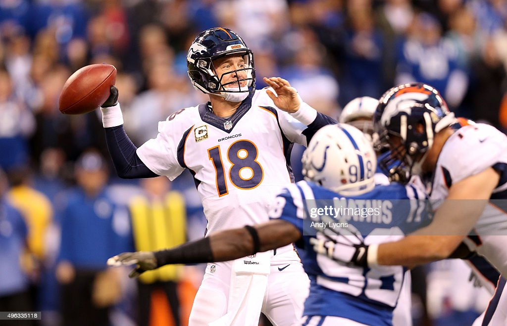 Peyton Manning #18 of the Denver Broncos throws a pass during the game against the Indianapolis Colts at Lucas Oil Stadium on November 8, 2015 in Indianapolis, Indiana.
