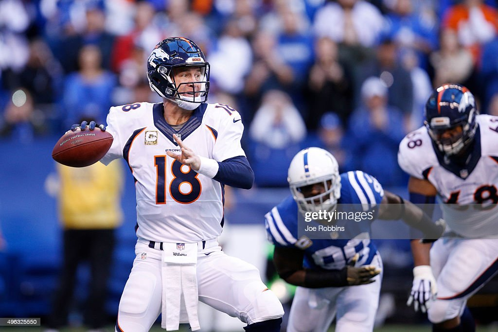 Peyton Manning #18 of the Denver Broncos throws a pass in the first quarter of the game against the Indianapolis Colts at Lucas Oil Stadium on November 8, 2015 in Indianapolis, Indiana.