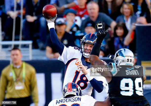 Peyton Manning of the Denver Broncos throws a pass in the first quarter against the Carolina Panthers during Super Bowl 50 at Levi's Stadium on...