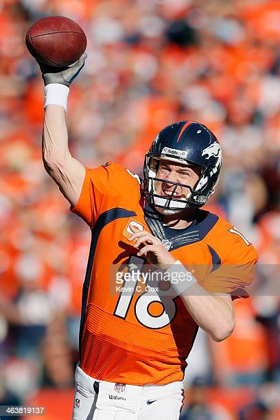 Peyton Manning of the Denver Broncos throws a pass in the second quarter against the New England Patriots during the AFC Championship game at Sports...