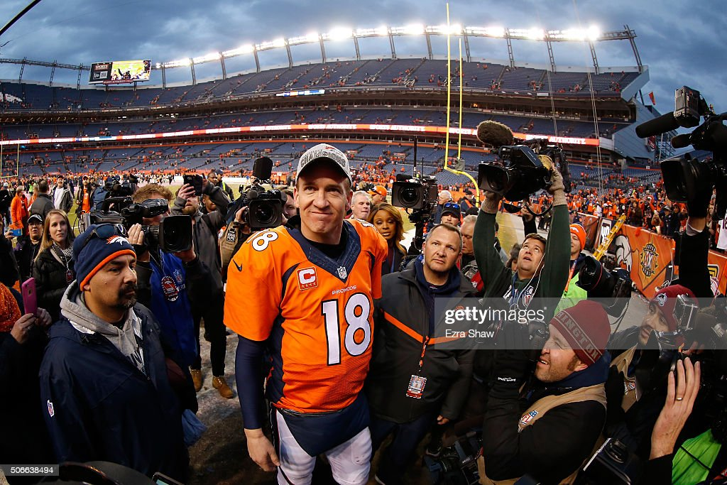 Peyton Manning #18 of the Denver Broncos walks off the field after defeating the New England Patriots in the AFC Championship game at Sports Authority Field at Mile High on January 24, 2016 in Denver, Colorado. The Broncos defeated the Patriots 20-18.