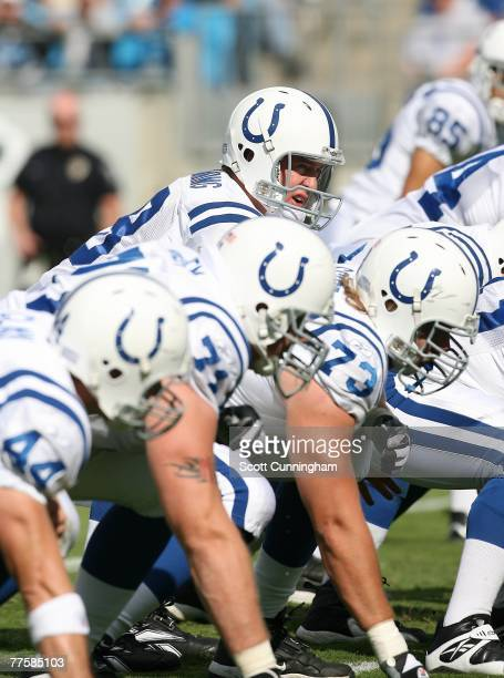 Peyton Manning of the Indianapolis Colts calls a play against the Carolina Panthers at Bank Of America Stadium on October 28 2007 in Charlotte North...