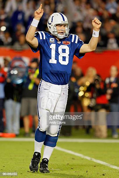 Peyton Manning of the Indianapolis Colts celebrates after a touchdown in the third quarter against the New Orleans Saints during Super Bowl XLIV on...