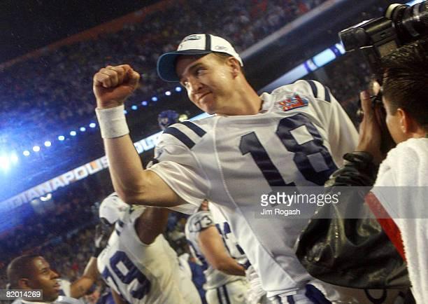 Peyton Manning of the Indianapolis Colts celebrates winning Super Bowl XLI at Dolphin Stadium in Miami Florida on February 4 2007