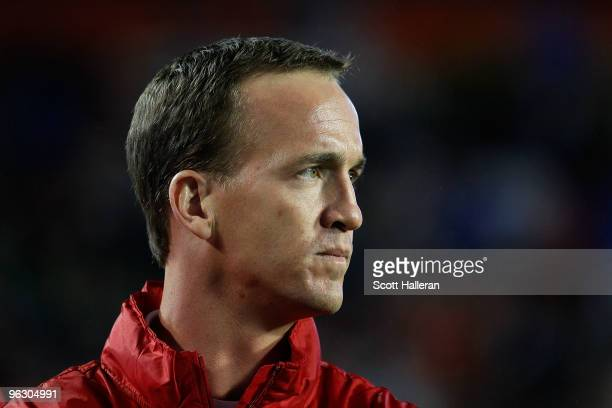 Peyton Manning of the Indianapolis Colts looks on during the 2010 AFCNFC Pro Bowl at Sun Life Stadium on January 31 2010 in Miami Gardens Florida