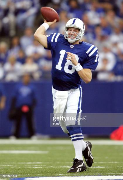 Peyton Manning of the Indianapolis Colts passes the ball in the first half against the Houston Texans on November 13, 2005 at the RCA Dome in...