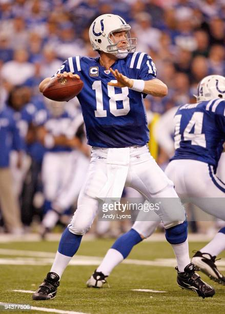 Peyton Manning of the Indianapolis Colts throws the ball during the NFL game against the Denver Broncos at Lucas Oil Stadium on December 13 2009 in...